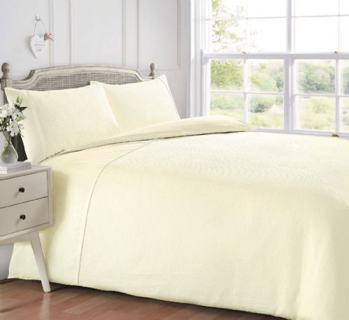 CREAM COLOUR WAFFLE HONEYCOMB PLAIN CONTEMPORARY DUVET COVER SET LUXURY BEDDING